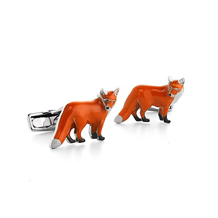 Sterling Silver & Enamel Fox Cufflinks