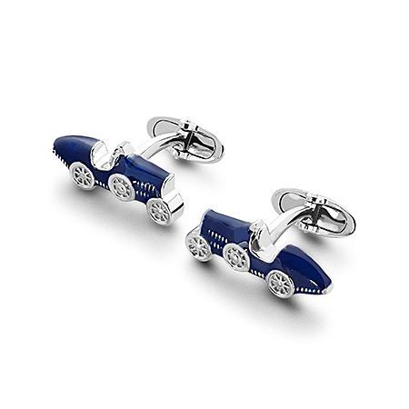 Sterling Silver & Enamel Classic Car Cufflinks in Blue
