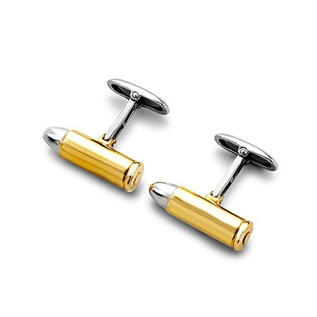 Sterling Silver & Gold Plated Bullet Cufflinks