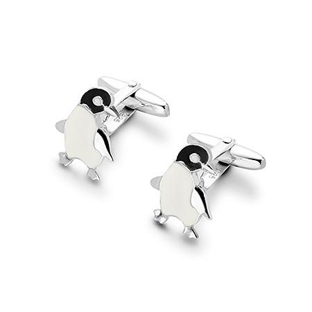 Sterling Silver & Enamel Penguin Cufflinks