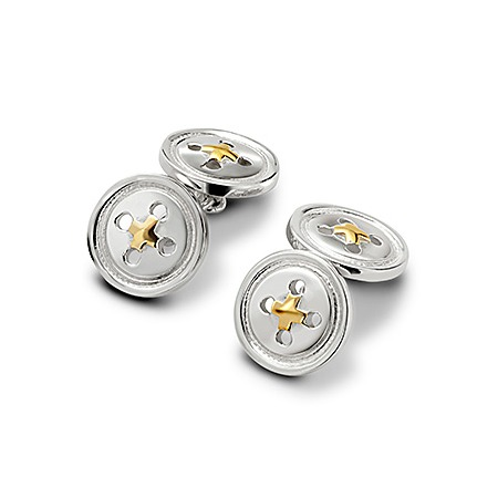 Sterling Silver & Gold Plated Double Buttons Cufflinks
