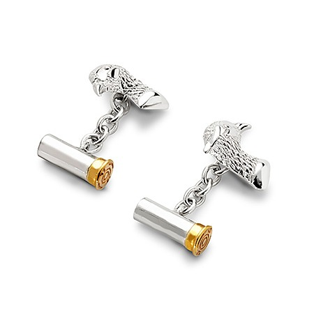 Sterling Silver & Gold Plated Pheasant & Cartridge Cufflinks