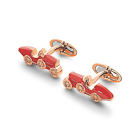 18ct Rose Gold Vermeil & Enamel Classic Car Cufflinks in Red