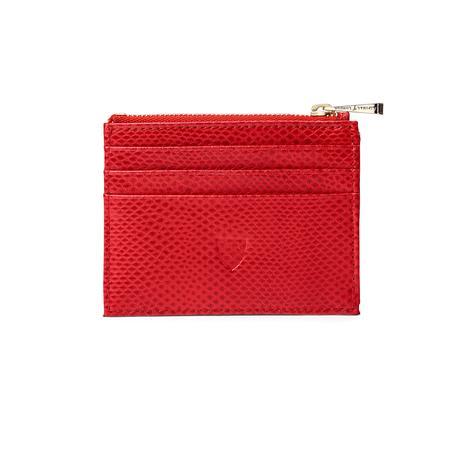 zip top coin card case in berry lizard cream suede - Zip Card Holder