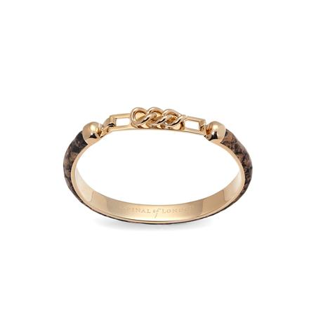Chainlink Skinny Cuff Bracelet in Tan Snake