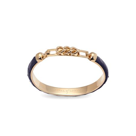 Chainlink Skinny Cuff Bracelet in Navy Snake