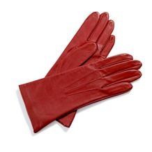 Ladies Classic Silk Lined Leather Gloves in Red. Ladies Silk Lined Leather Gloves from Aspinal of London