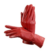 Ladies Cashmere Lined Leather Gloves in Red. Outlet from Aspinal of London