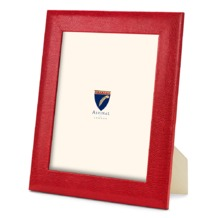 10 x 8 Leather Photo Frame in Red Lizard. Leather Photo Frames from Aspinal of London