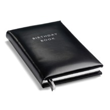 Birthday Book in Smooth Black. Birthday Book from Aspinal of London