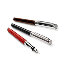 Sterling Silver & Leather Fountain Pens. Mens Silver Pens from Aspinal of London