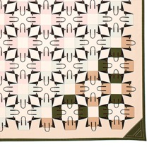 Marylebone Geometric Silk Scarf in Dusty Pink & Moss Green. Ladies Silk Scarves from Aspinal of London