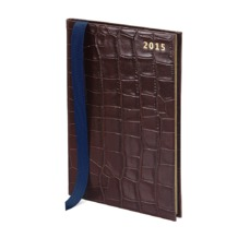 A5 Week to View Leather Diary in Amazon Brown Croc. Sale from Aspinal of London