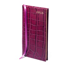 Slim Pocket Week to View Leather Diary in Purple Croc. Sale from Aspinal of London