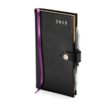 Slim Pocket Week to View Leather Diary with Pen in Smooth Black. Sale from Aspinal of London