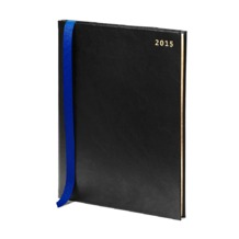 Quarto (A4) Week to View Italian Leather Diary in Smooth Black. Sale from Aspinal of London