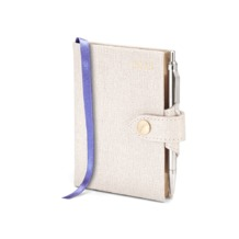 Mini Pocket Week to View Leather Diary with Pen in Ivory Saffiano. Sale from Aspinal of London