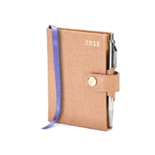 Mini Pocket Week to View Leather Diary with Pen in Deer Saffiano. Sale from Aspinal of London