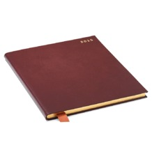Quarto (A4) Week to View Italian Leather Diary in Smooth Chocolate. Sale from Aspinal of London
