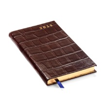 Slim Pocket Week to View Leather Diary in Amazon Brown Croc. Sale from Aspinal of London