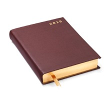 A6 Day per Page Italian Leather Diary in Smooth Chocolate. Sale from Aspinal of London