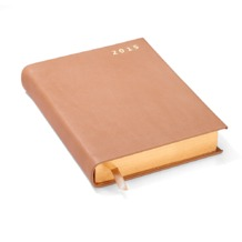 A6 Day per Page Italian Leather Diary in Smooth Deer. Sale from Aspinal of London