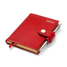 Mini Pocket Week to View Leather Diary with Pen in Red Lizard. Sale from Aspinal of London