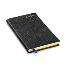 Slim Pocket Week to View Diary with Pen in Black Embossed Flower. Slim Pocket Leather Diary from Aspinal of London