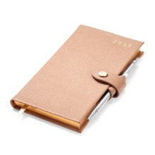 Slim Pocket Week to View Leather Diary with Pen in Deer Saffiano. Sale from Aspinal of London