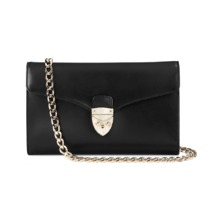 Shield Lock Manhattan Clutch in Smooth Black. Evening & Clutches from Aspinal of London