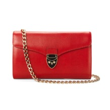 Shield Lock Manhattan Clutch in Berry Lizard. Evening & Clutches from Aspinal of London