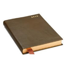 A5 Day per Page Leather Diary in Smooth Moss Green. Sale from Aspinal of London