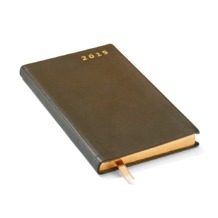 Slim Pocket Week to View Leather Diary in Smooth Moss Green. Sale from Aspinal of London