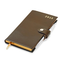 Slim Pocket Week to View Leather Diary with Pen in Smooth Moss Green. Sale from Aspinal of London