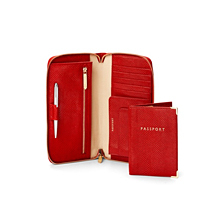 Zipped Travel Wallet with Passport Cover. Leather Travel Goods from Aspinal of London