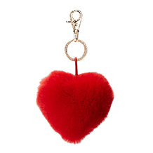 Fur Heart Key Ring. Key Rings & Charms from Aspinal of London
