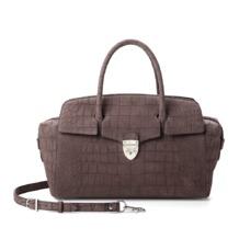 Berkeley Bag in Grey Nubuck Croc. Handbags & Clutches from Aspinal of London