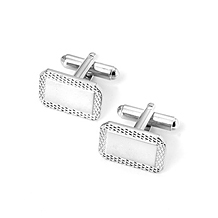 Engraved Edge Rectangular Cufflinks. Sterling Silver, Gold & Enamel Cufflinks from Aspinal of London