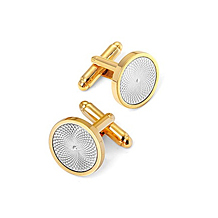 Engraved Centre Round Cufflinks. Sterling Silver, Gold & Enamel Cufflinks from Aspinal of London