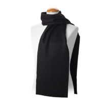 Aspinal Unisex Superior Cashmere Scarf in Black. Ladies Cashmere Scarves from Aspinal of London