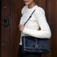 Shoulder Buckle Bag in Navy Nubuck. Handbags & Clutches from Aspinal of London