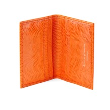 Double Fold Credit Card Case in Orange Lizard. Business & Credit Card Holders from Aspinal of London