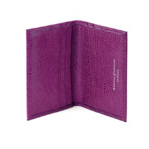 Double Fold Credit Card Case in Violet Lizard. Business & Credit Card Holders from Aspinal of London