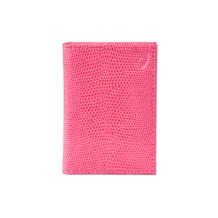 Double Fold Credit Card Case in Pink Lizard. Business & Credit Card Holders from Aspinal of London