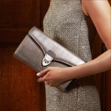 Shield Lock Manhattan Clutch in Black Deep Shine Croc. Evening & Clutches from Aspinal of London