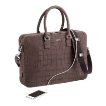 Small Mount Street Bag in Grey Nubuck Croc. Ladies Business Bags from Aspinal of London