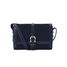 Mini Shoulder Buckle Bag in Navy Nubuck. Handbags & Clutches from Aspinal of London