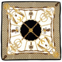 Silk Scarf with Black Horse Shoe & Stirrup. Ladies Silk Scarves from Aspinal of London