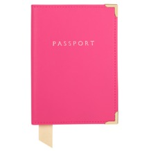 Plain Passport Cover in Smooth Neon Pink. Leather Passport Covers from Aspinal of London