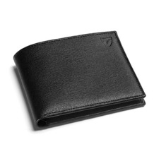 Billfold Wallet in Black Saffiano & Black Suede. Leather Billfold Wallets from Aspinal of London